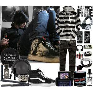 cute emo boy clothing set