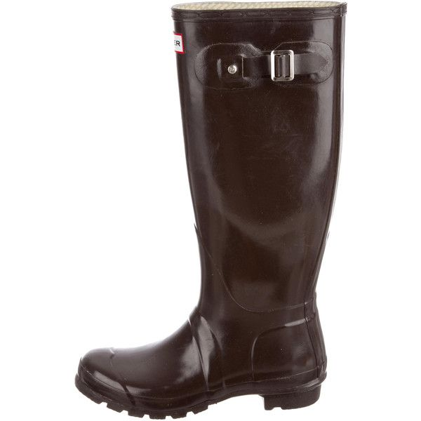 Pre-owned Hunter Rubber Rain Boots ($110) ❤ liked on Polyvore featuring shoes, boots, brown, wellies boots, wellies shoes, wellington boots, rubber shoes and round cap