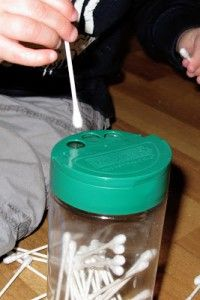 Quiet activities for two year olds - cotton swab and can