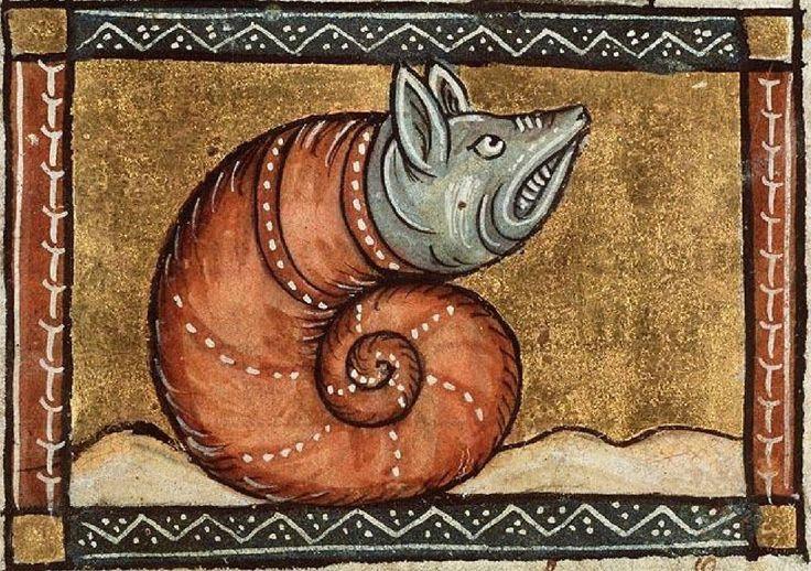 The Hague, KB, KA 16, Fol. 109vb (vicious snail). Jacob van Maerlant Der Naturen Bloeme. Flanders c. 1350