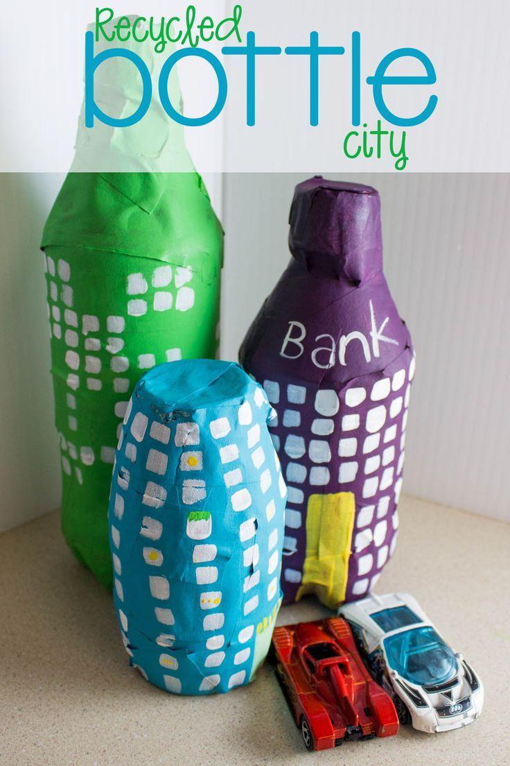 Diy recycled bottle city craft plastic bottle crafts - Recycled soda bottle crafts ...