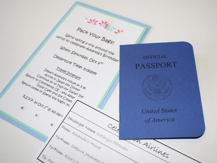 Around the World Passport/Boarding Pass Invitation