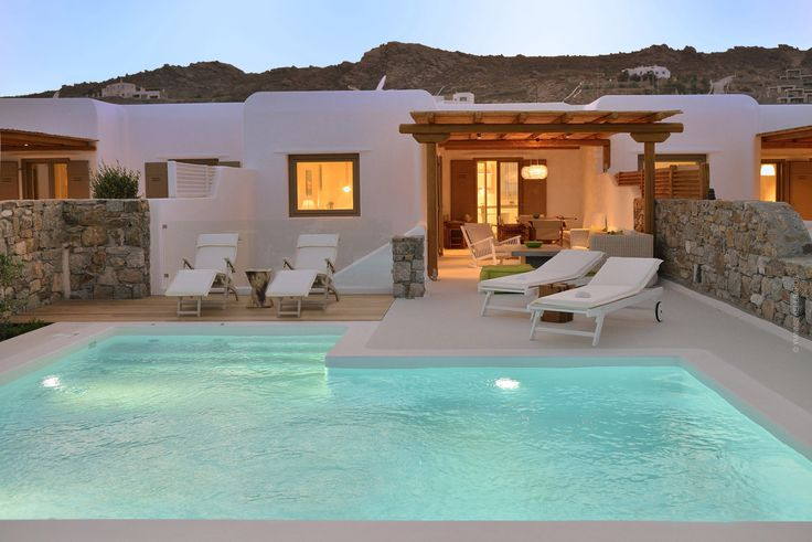 Luxury Villa up to 4 persons with private swimming pool, amazing design at Elia beach Mykonos, 700 meters from the beach.