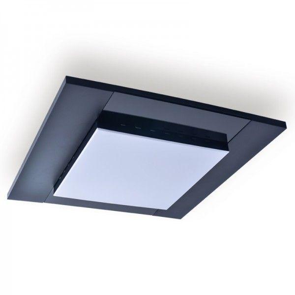 Plafon Cleer quadrado, uso interno, para 4 lâmpadas,  Medidas: 55x55x7cm,   Material: Acrílico e MDF,  Cor: Preto