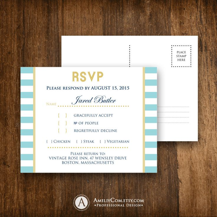 RSVP Card Nautic Blue & Gold Printable Template Beach Summer Wedding Reply Cards Digital EDITABLE text Response PostCard Instant Download