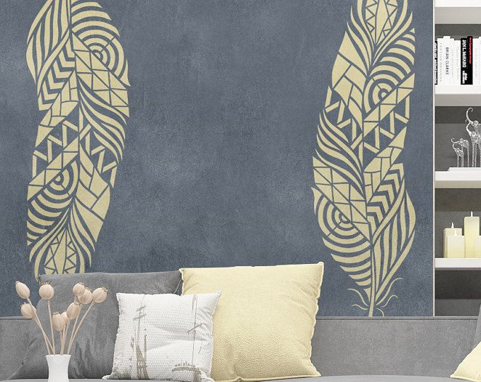 Feather Wall Stencil - Reusable feather decorative stencil - Spring Wall Stencil - Decorative stencil - Large Feather stencil