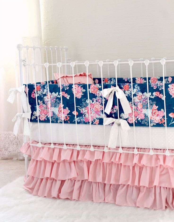 Pink and Navy Baby Girl Bedding, custom crib bedding, navy and pink floral baby bedding, Navy white pink modern nursery by lottiedababy by LottieDaBaby on Etsy https://www.etsy.com/listing/288684773/pink-and-navy-baby-girl-bedding-custom affiliate
