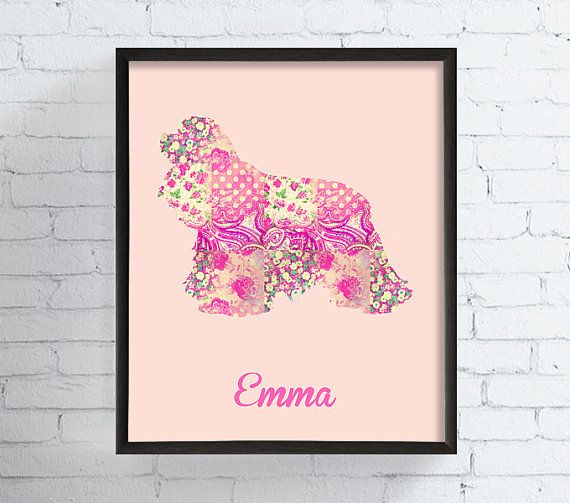 American Cocker Spaniel, Cockerspaniel, Custom Dog Art Print, Personalized Dog Art, Custom Dog Gift, Custom Pet Art, Dog Portrait, Shabby by MiaoMiaoDesign #italiasmartteam #etsy