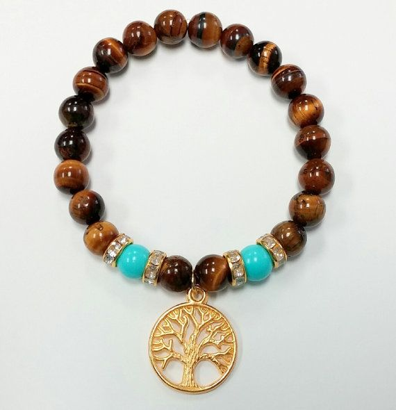 Tree of Life Tiger Eye Beaded Bracelet by RandRsWristCandy on Etsy, $8.00