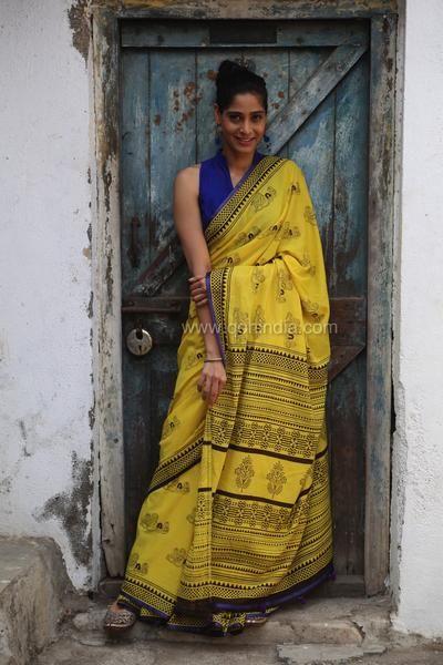Lemon Yellow Matryoshka Doll Hand Block Printed Mul Cotton Saree