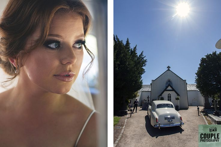 The beautiful bride arrives at the church. Weddings at Druids Glen Hotel by Couple Photography.