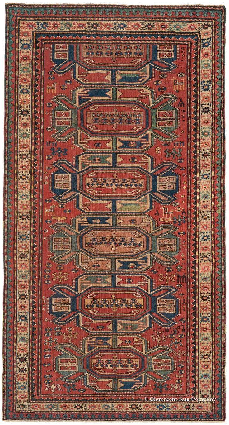 Marvelous Caucasian Karabagh, 4ft 9in X 8ft 9in, Circa 1875. Inventive Compressed  Medallions Of