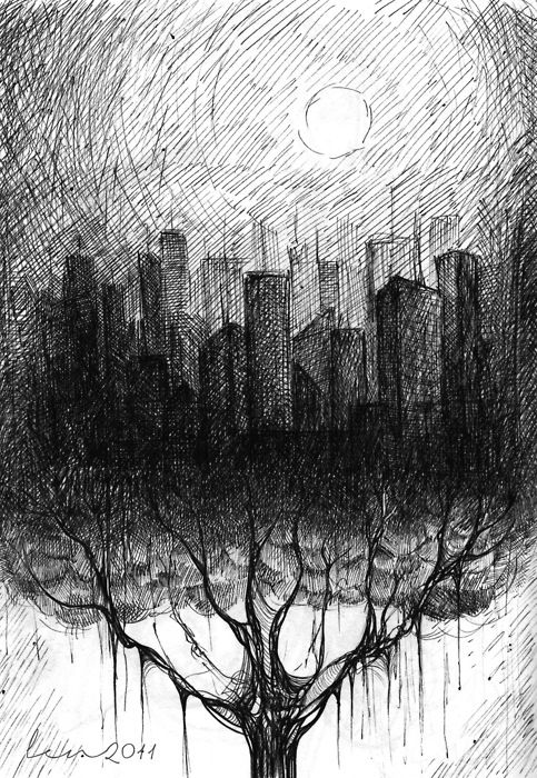 Fantastic example of hatching and cross-hatching. Tone is created with line.