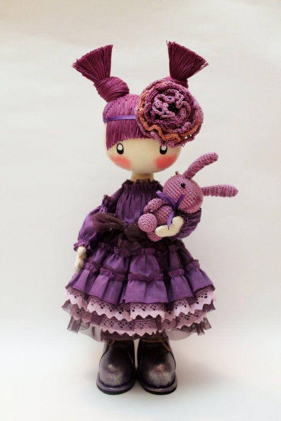 Awesome Etsy listing at https://www.etsy.com/pt/listing/220897354/doll-frusya-purple-rag-doll-violet-doll