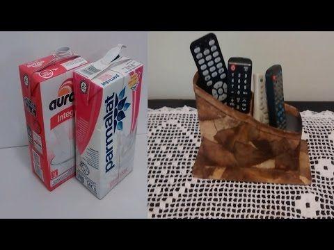 Porta controle feito com caixa de leite e filtro de café! - YouTube