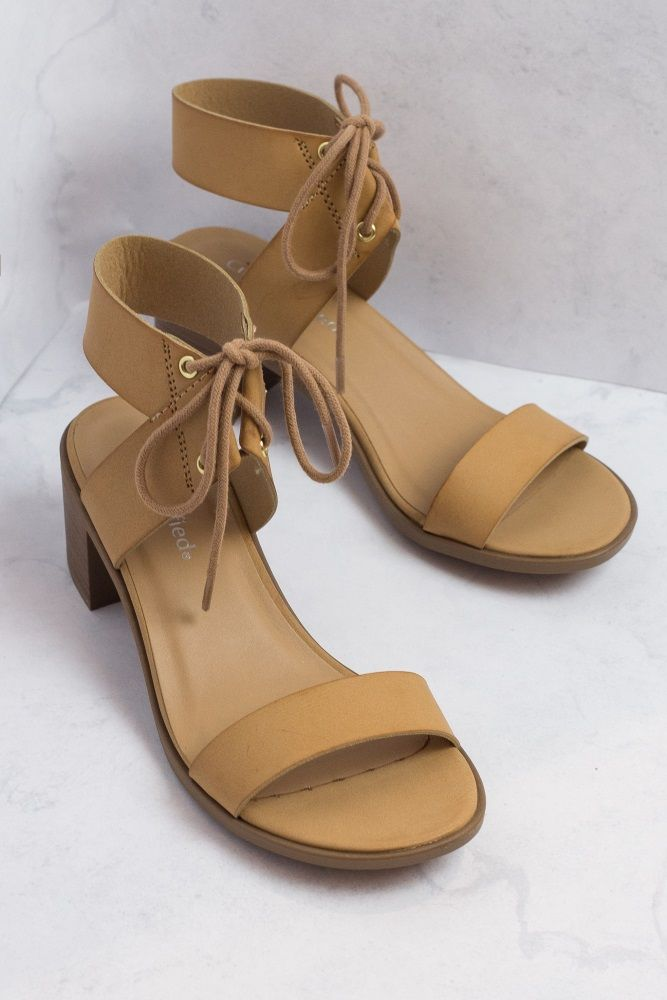 13ada3af6aa Beige Faux Leather Lace-Up Block Heel