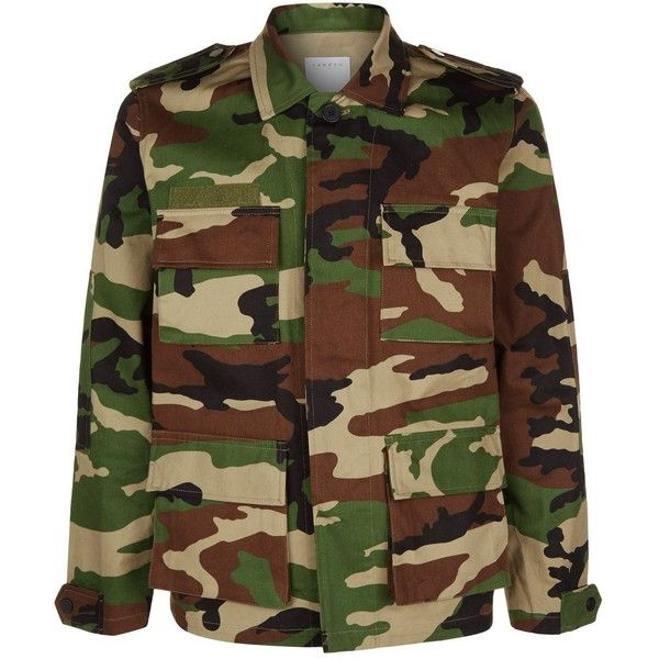 Sandro Camouflage Denim Jacket (2399405 PYG) ❤ liked on Polyvore featuring men's fashion, men's clothing, men's outerwear, men's jackets, mens camo military jacket, mens camouflage jacket, mens camo jacket, mens urban jackets and mens oversized denim jacket