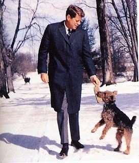 """1961 - 1963 President John F. Kennedy  Welsh Terrier - Pushinka  John F. Kennedy was the first president to request that his dogs meet the presidential helicopter when the president arrived at the White House.  Soviet Premier Kruschev gave him a dog named Pushinka who was the offspring of the Russian space dog Strelka. Pushinka had 4 puppies of her own puppies who JFK called """"pupniks""""! Pushinka often made the President laugh by climbing up the ladder to Caroline's tree house."""
