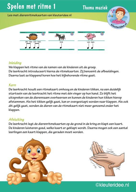 Kleuters spelen met ritme les 1, thema muziek, kleuteridee.nl, free printable.