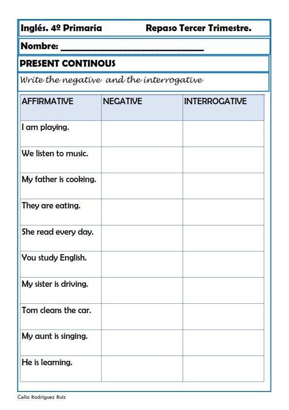 Fichas inglés cuarto primaria. Niños de 9-10 años | Idioma inglés ...