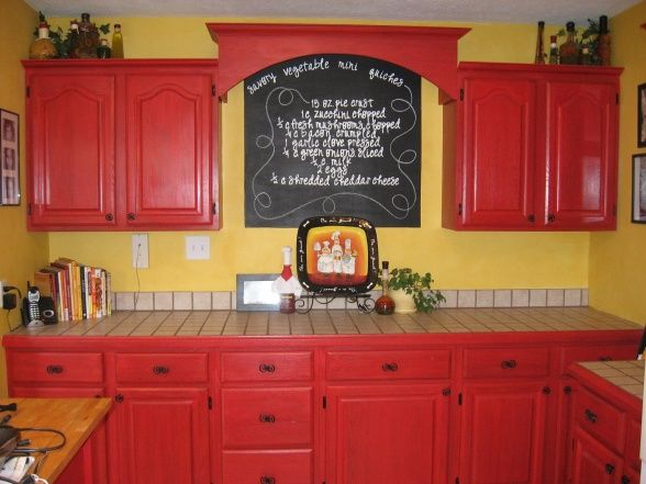 Chef decor kitchen i painted my cabinets red and did a for Fat chef kitchen ideas
