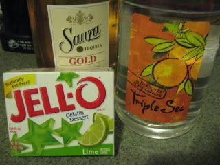 Margarita Jello Shots  2 cups boiling water  1 box lime jello  1 1/3 C tequila  2/3 C triple sec    Dissolve jello in boiling water.  Stir in tequila & triple sec.  Pour into little plastic cups.  Refrigerate until completely set.  Enjoy!