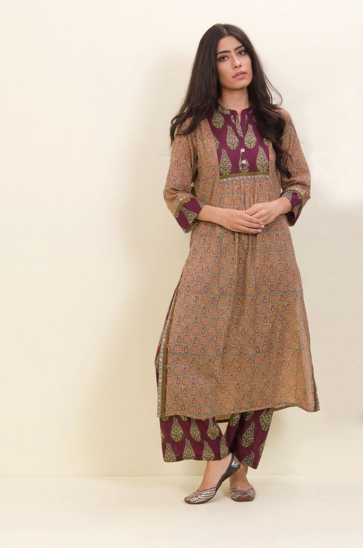 Green Mauve Collar Pocket Kurta – Sampada