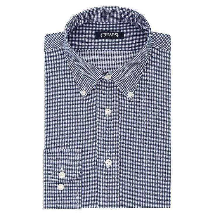 Men's Chaps Slim-Fit Stretch Collar Dress Shirt, Size: 18.5 34/5B, Blue (Navy)