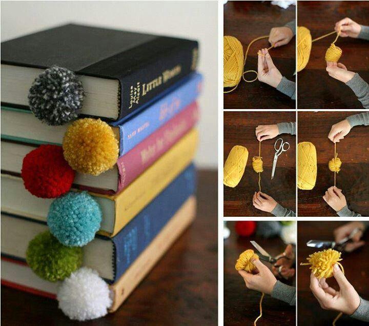 Yarn Ball Bookmarks.  Good handicraft for boys.  Charlotte Mason Homeschool.