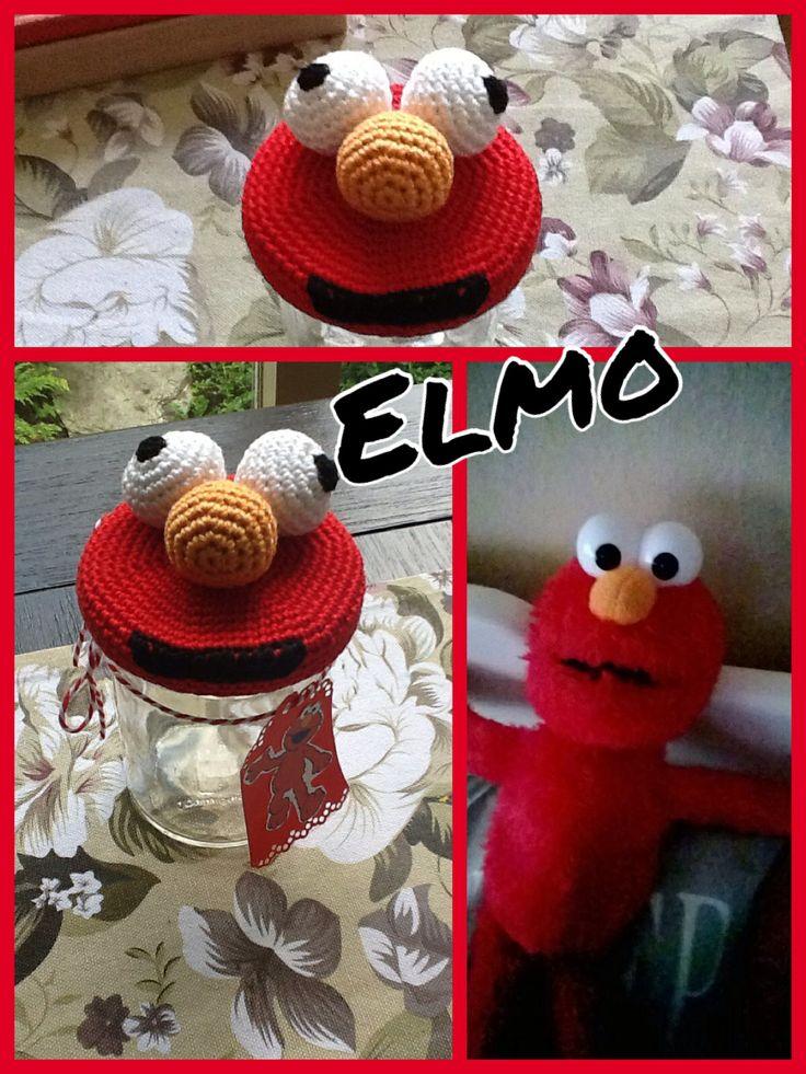 Elmo potje gehaakt, kadootje, rood, gemaakt door monique van Groningen