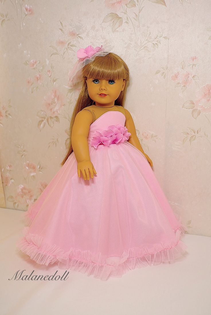 """Pink flowers princess dress for American girl doll 18"""" by malanedoll"""
