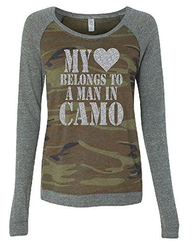 I absolutely love this camo outfit.  Seriously camouflage women's clothing looks  super cute and sexy.  Very fashion  forward and stylish not to mention trendy.      Graphics Unlimited Womens My Heart Long Sleeve Glitter