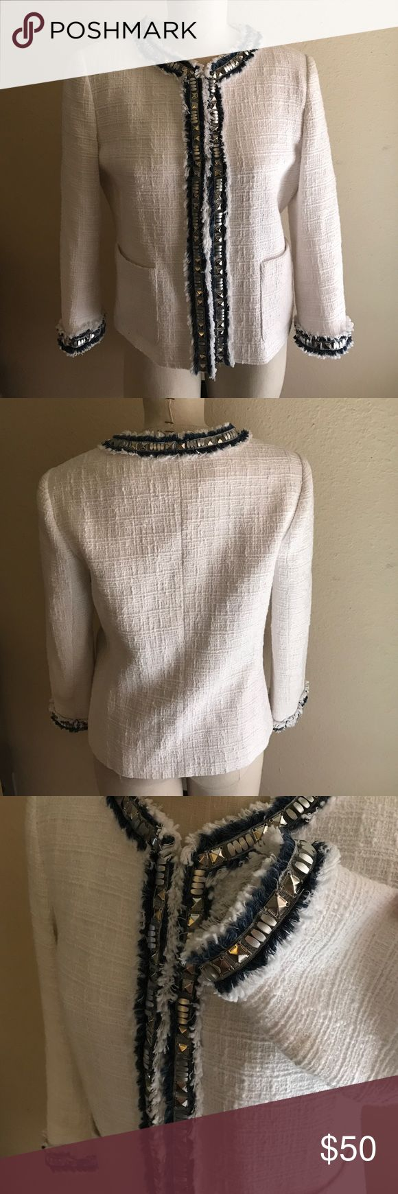 Stunning Boston Proper Blazer Boston proper blazer with blue and silver beading accents size 12 FLAWLESS. Worn maybe once. 100% cotton outer 100% polyester inner. Boston Proper Jackets & Coats Blazers