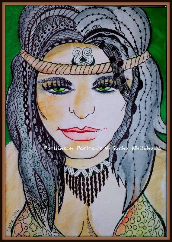 Fantasy Art Warrior Portrait Art  Original by ParkinsonPortraits, $90.00