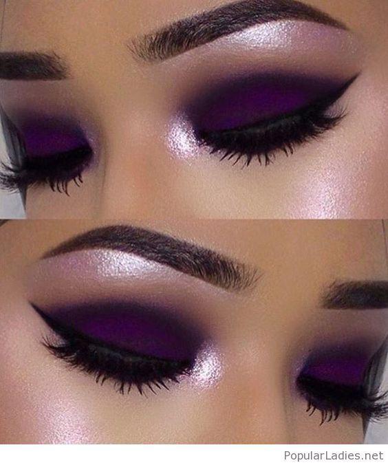 Purple matte makeup with black detail