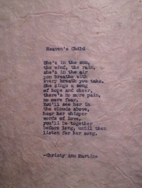Sympathy Poem Heaven's Child Loss of Child Baby Girl Death ...