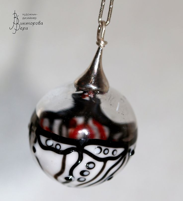 "Collection  ""graphics Mystery."" Artisan lampwork hollow beads, sterling silver."