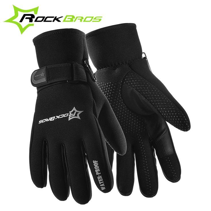 ROCKBROS Winter Windproof Full Finger MTB Road Bike Bicycle Gloves Fleece Keep Warm Gel Anti-slip Cycling Riding Sports Gloves