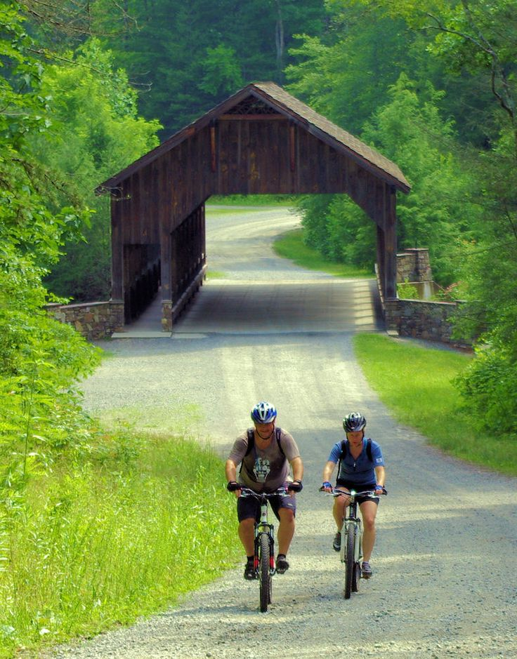 Biking and hiking trail to waterfalls in DuPont State Forest in NC