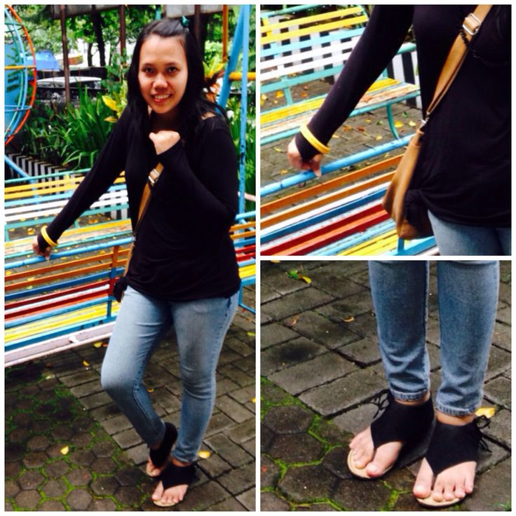 Denim and casu black t-shirt..