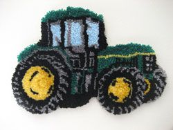 "Tractor Latch Hook rug kit. Our SHAPED popular Tractor in John Deere Green. Fug measures 31.5x21"". Kit comes complete with Full Color Chart, 3.3 mesh latch hook canvas, pre-cut yarn is 2x3 ply acrylic rug yarn (equivalent to 6 ply) and complete instructions.  Perfect for boy's room or anyone who loves tractors,"
