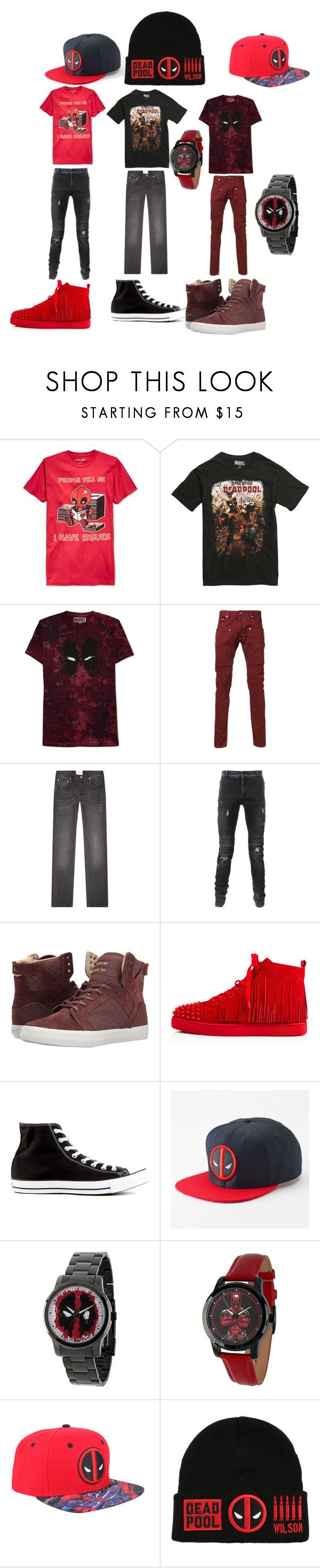 """""""it's deadpool"""" by muneca-moorehead on Polyvore featuring Mighty Fine, Marvel, JEM, Mr. Completely, Sandro, Balmain, Supra, Christian Louboutin, Converse and men's fashion"""