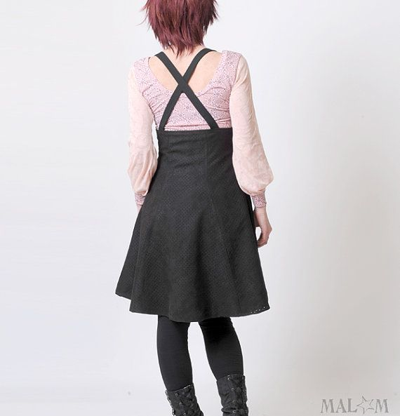 Black suspender Skirt - Perforated faux suede - High waisted suspender skirt