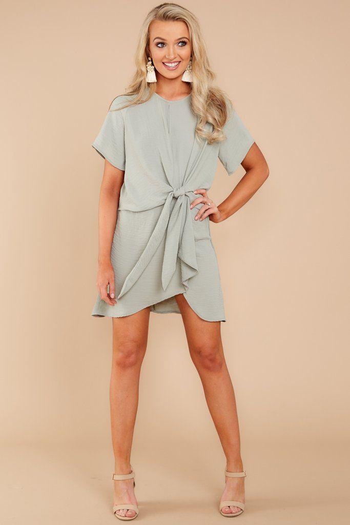 34b2b3920d87 Make It Simple Dusty Olive Green Dress