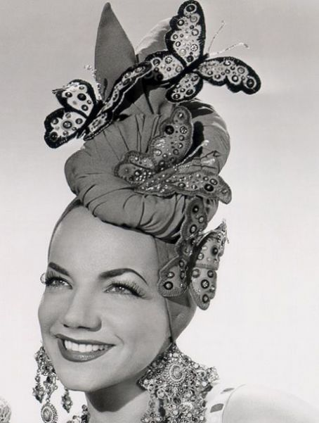 Carmen Miranda in a seriously awesome butterfly adorned turban hat. #1940s #vintage #actresses