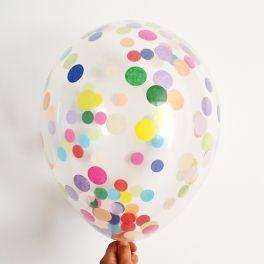 5 globos transparentes confetis multicolores pluie de confettis