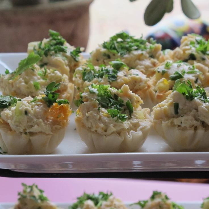 Chicken salad in philo cups