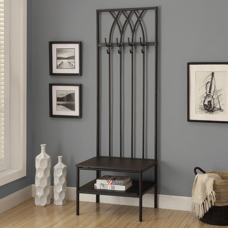 """Monarch Specialties Inc. Hammered Metal Hall Entry Bench & Reviews   Wayfair If features and functionality are what you are looking for, look no further. Here is a fashionable hallway entry bench with a storage shelf and 4 coat hooks for ample storage. A thick padded cushion seat creates a comfortable place to rest and put on your shoes before the start of your busy day. FEATURES: Material: Metal DIMENSIONS: Overall: 72"""" H x 28"""" W x 24"""" D Overall Product Weight: 33.5lbs"""