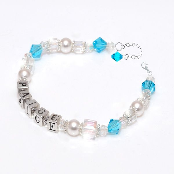 Paige Personalised Birthstone Bracelet - This beautiful sterling silver name bracelet makes the perfect gift for newborns, christenings, 1st Birthday or Christmas, 1st Holy Communion, Flowergirls or for any occasion. Crafted with genuine Swarovski crystals and pearls.