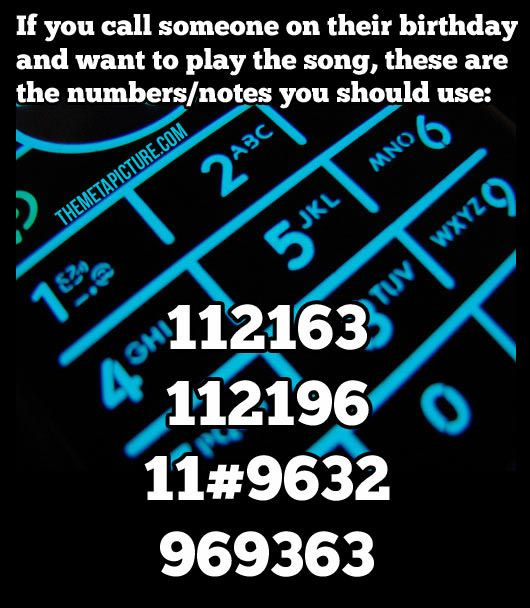 Here is how to play Happy Birthday using the number pad on your phone.